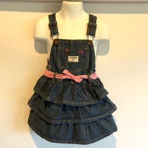 Osh Kosh 3t 3 Toddler Denim Tiered Overall Dress